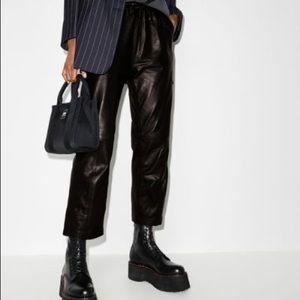 J Brand Amari Leather High Rise  Trouser Pant Navy Black Size XS